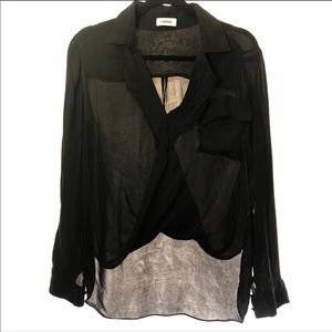 L'agene black sheer silk top size small high low